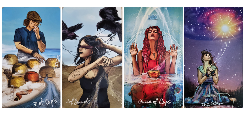 Spiritual Tarot & Guidance ~ Shine your light. 7 of Cups, 2 of Swords, Queen of Cups, The Star.